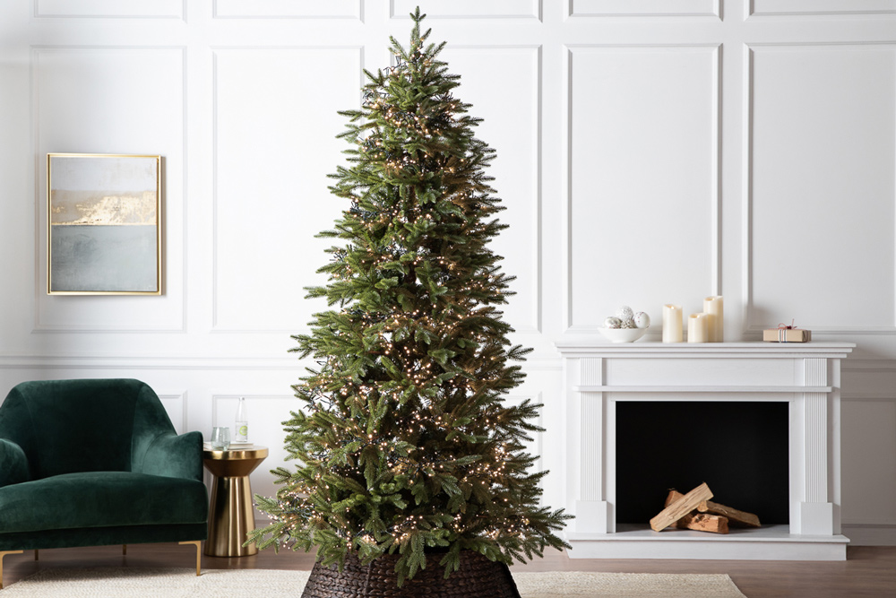 realistic artificial Christmas tree with LED lights