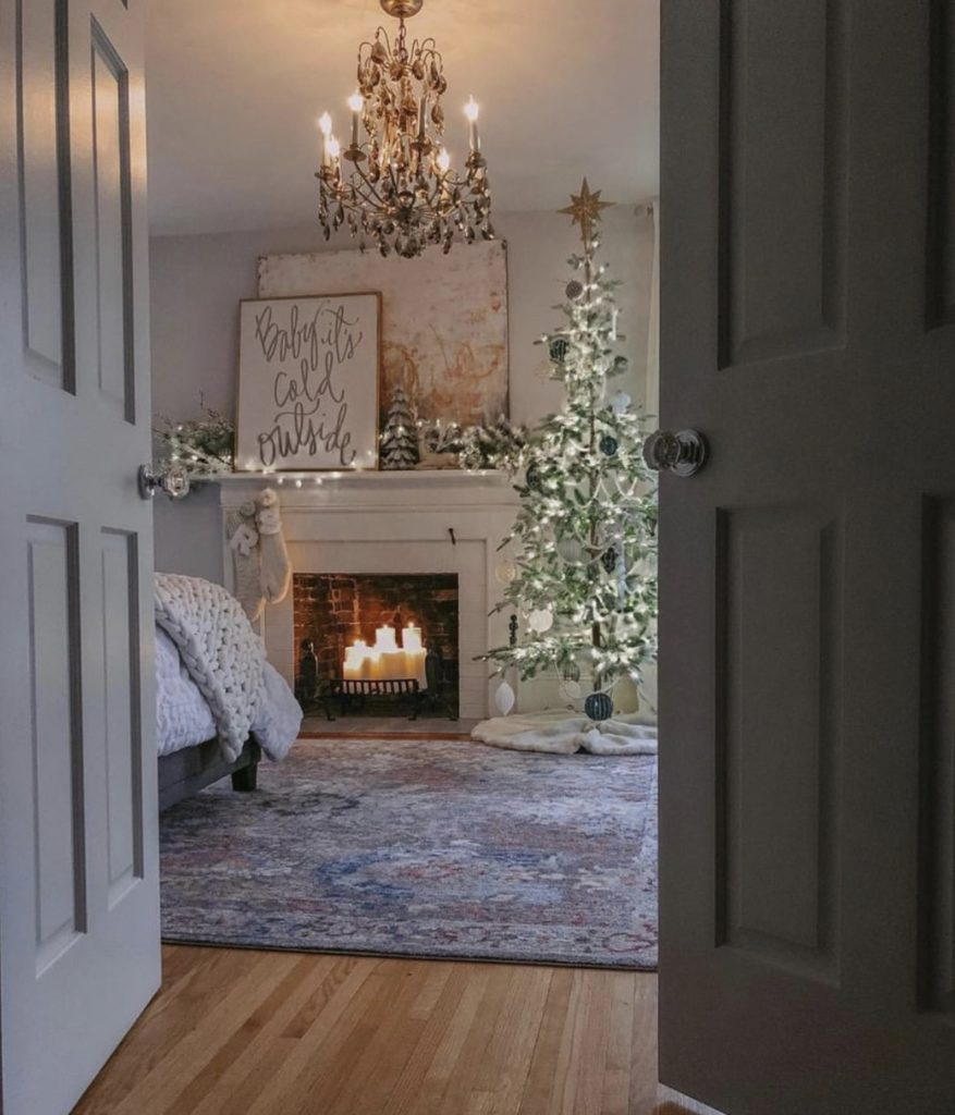 Frosted Alpine Balsam Fir tree inside a bedroom