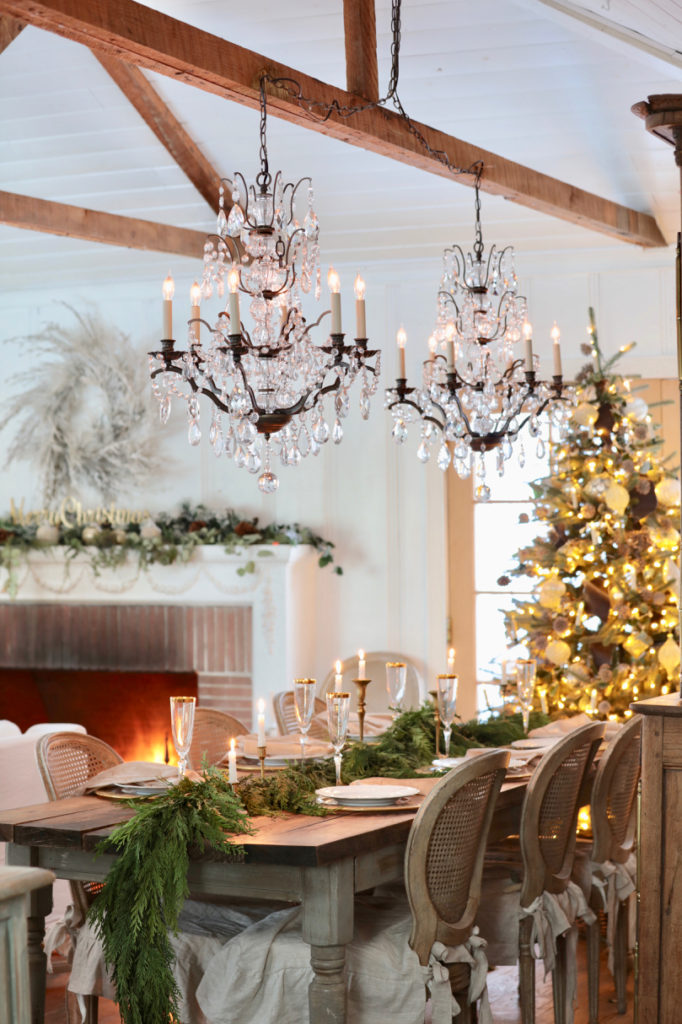 Mantel and dining table Christmas decorating with artificial foliage