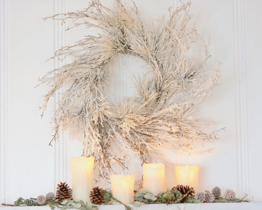 Balsam Hill Wispy Winter Wreath on mantel