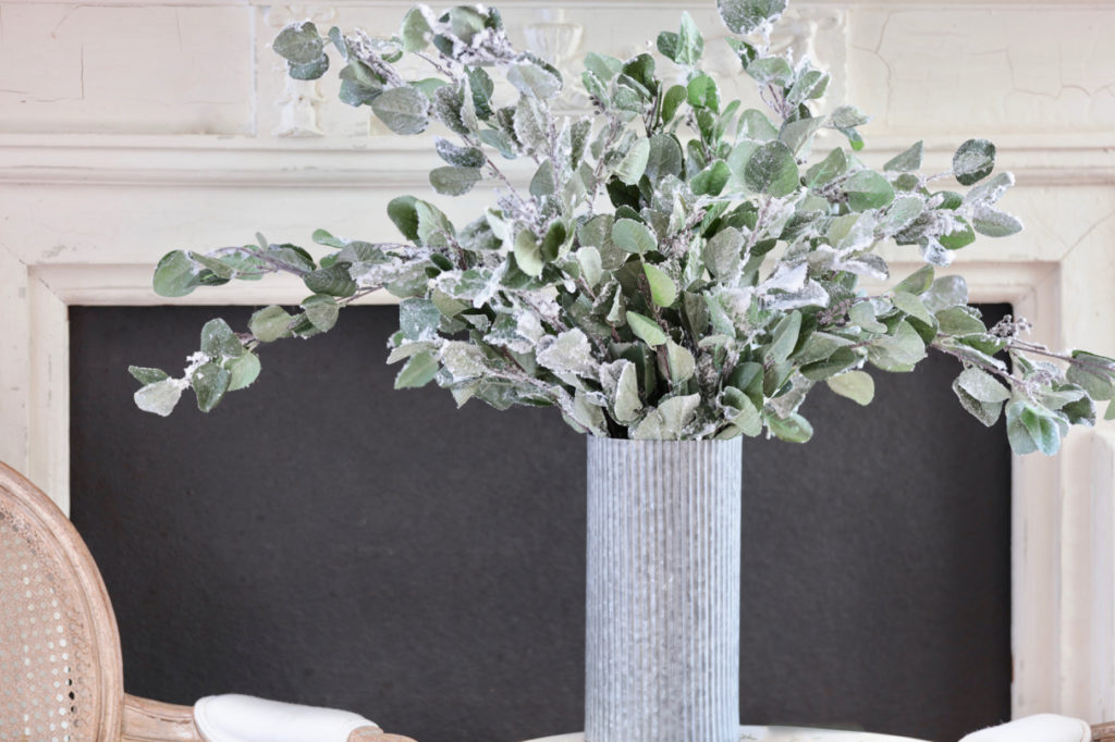 Winter Wisher eucalyptus tree picks in galvanized vase