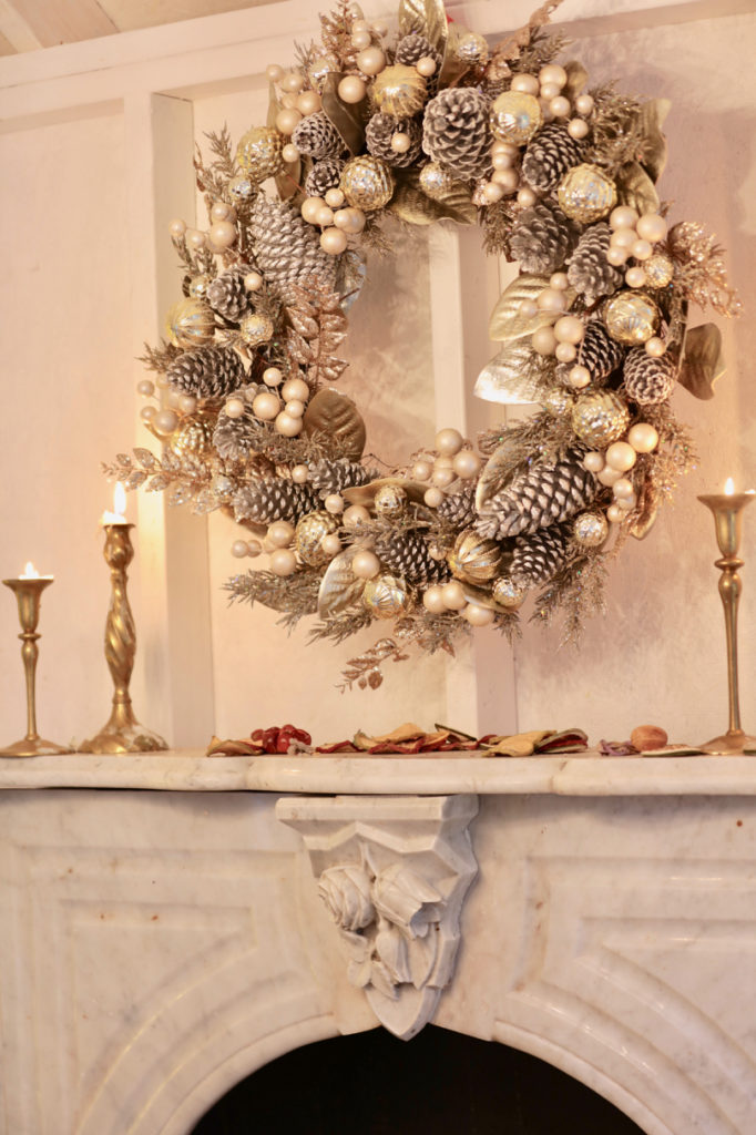 Balsam Hill Gilded Glamour Wreath mantel decoration