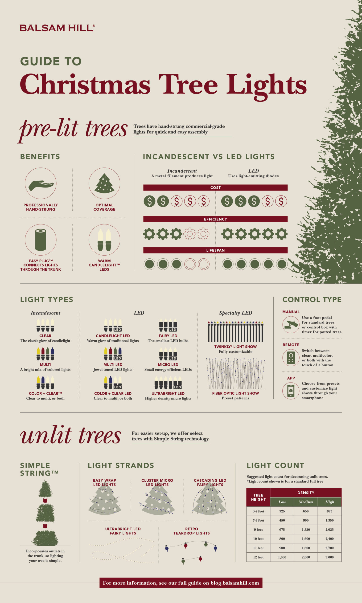 Christmas tree light buyer's guide infographic