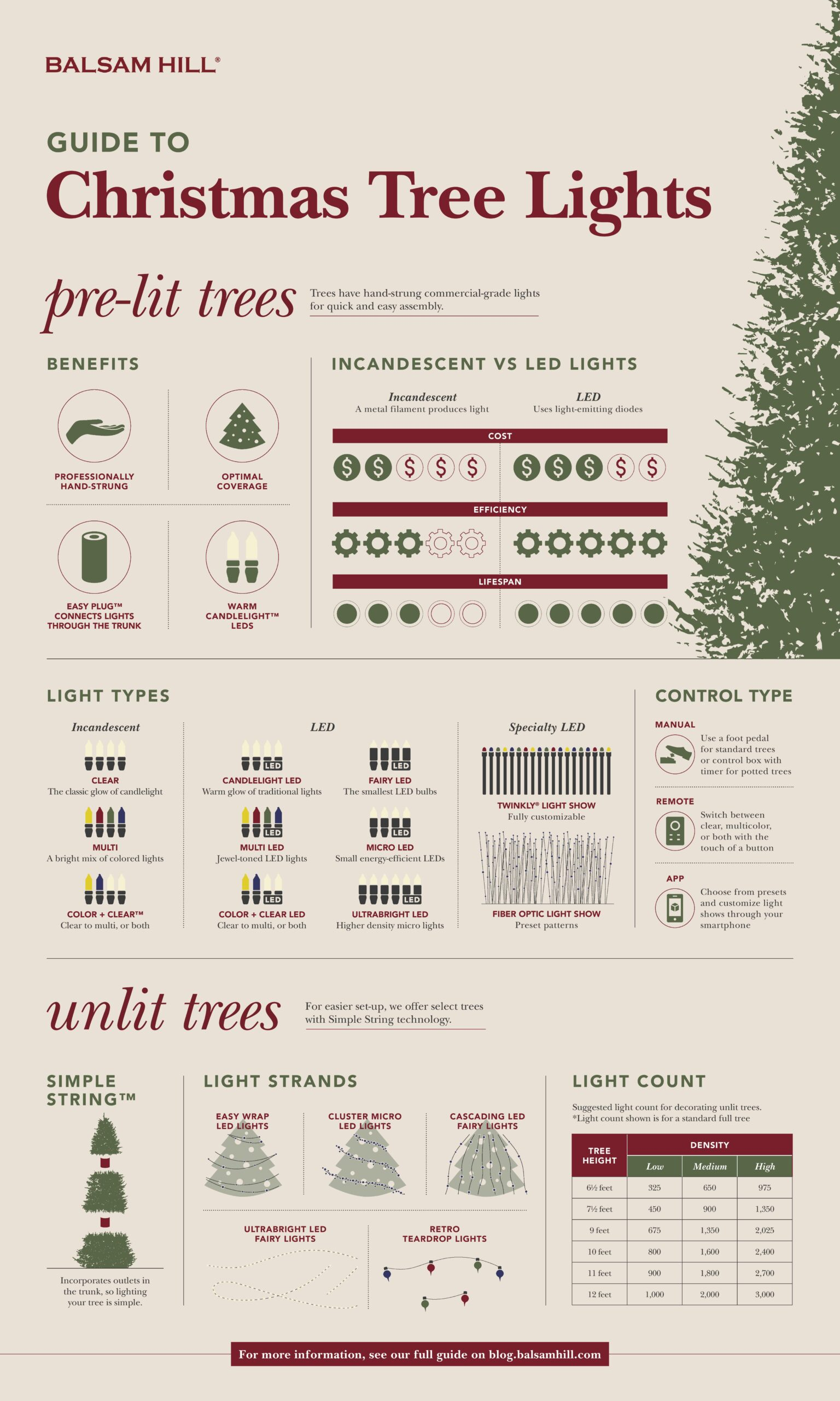 Christmas tree light guide infographic