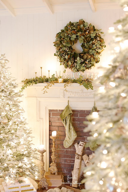 Christmas greenery on the mantel