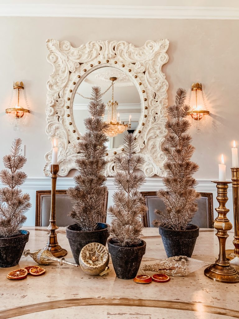Balsam Hill Tabletop Trees on dining table