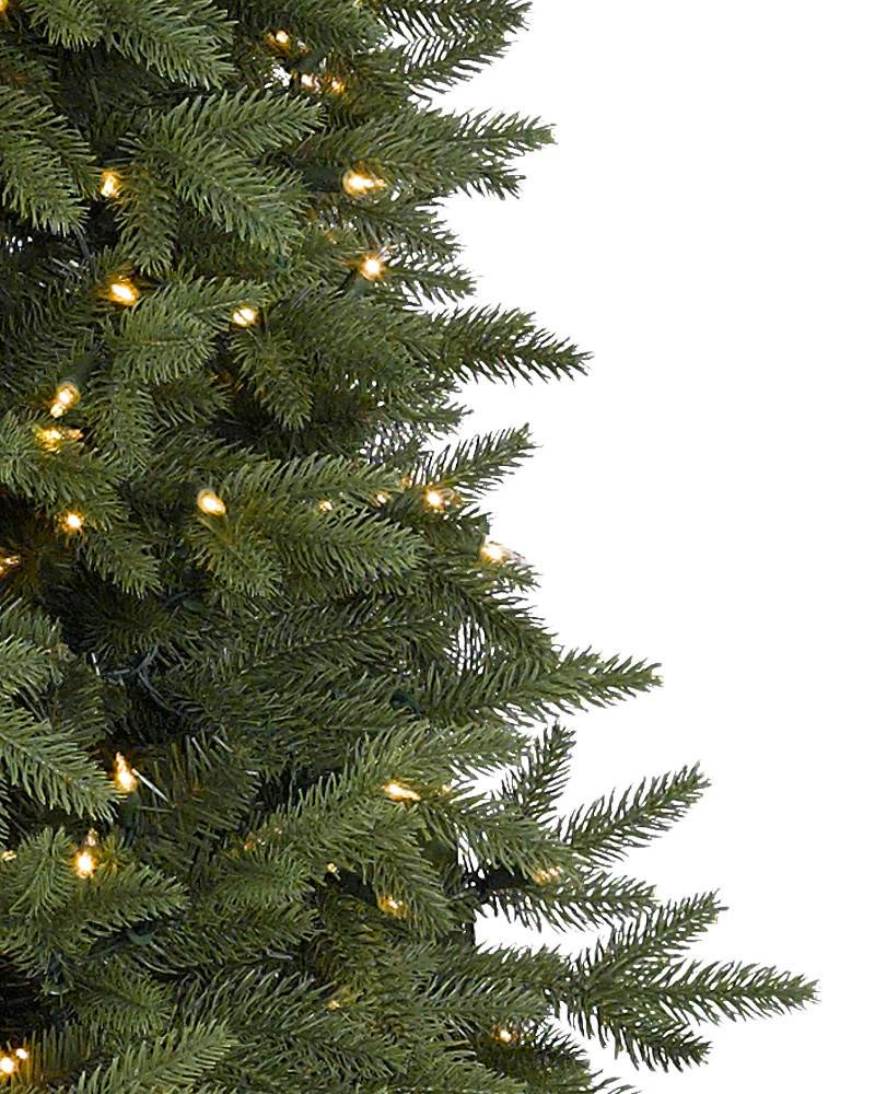 Balsam Hill tree sale Silverado Slim Artificial Christmas Tree with Candlelight Clear LED Lights Closeup