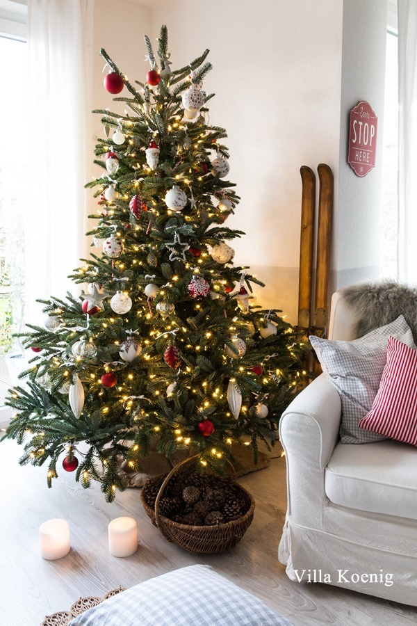 Red and white Christmas tree theme decorating ideas for a European Fir tree