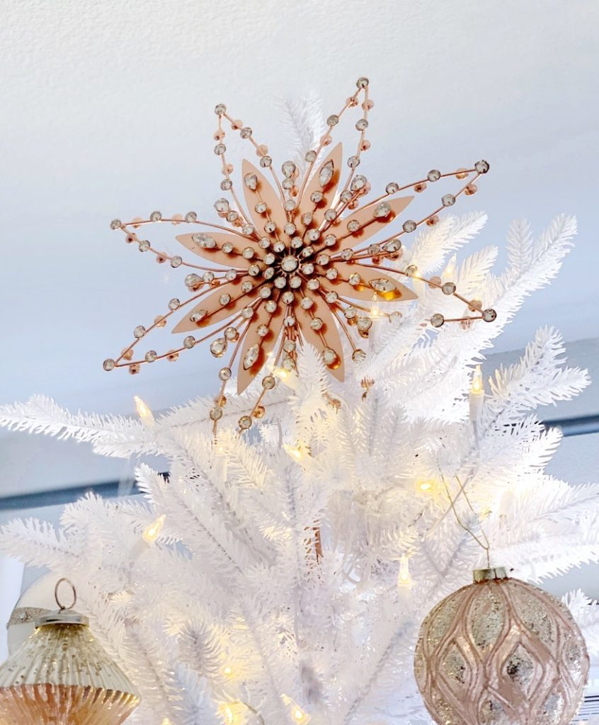 Antiqued Snowflake Beaded Ornament Topper for a Winter Wonderland Christmas Tree Theme