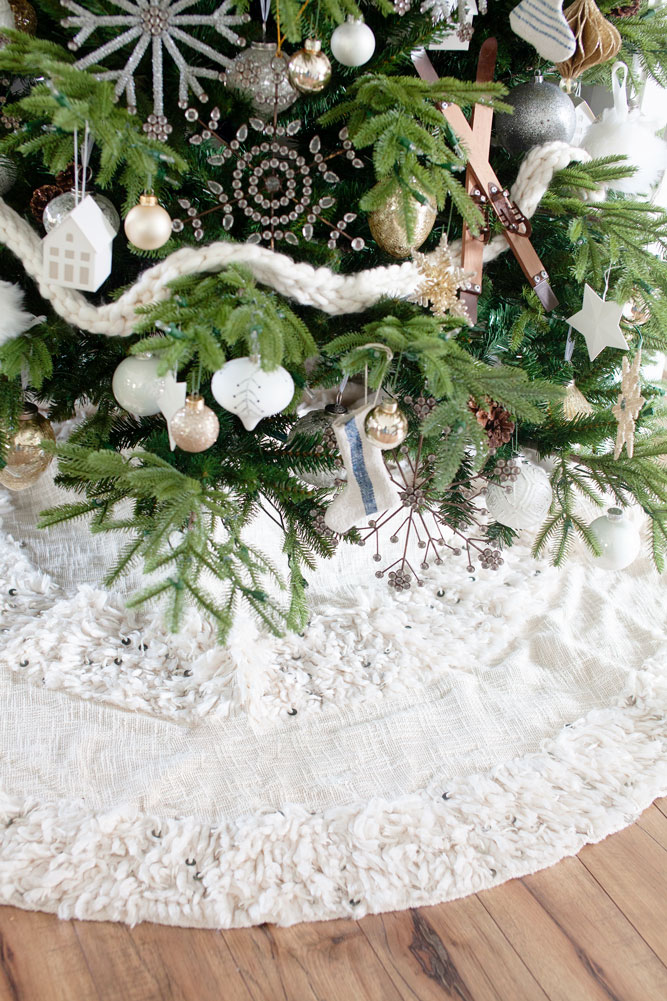 Country Christmas tree skirts with Scandinavian Christmas ornaments