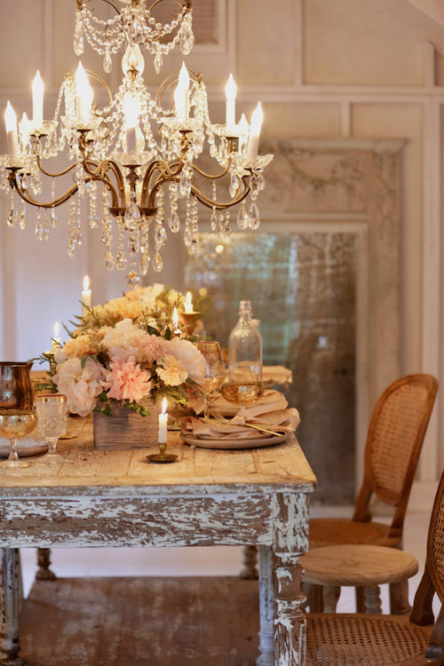 Floral arrangements used as table centerpiece