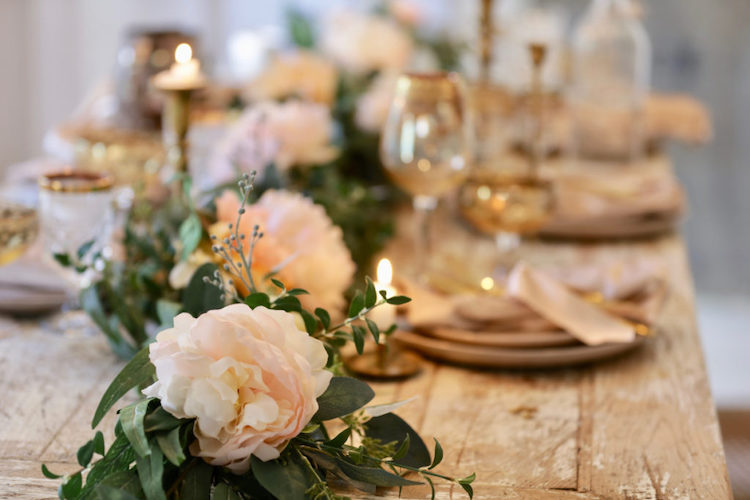 Napa Romance garland as table centerpiece