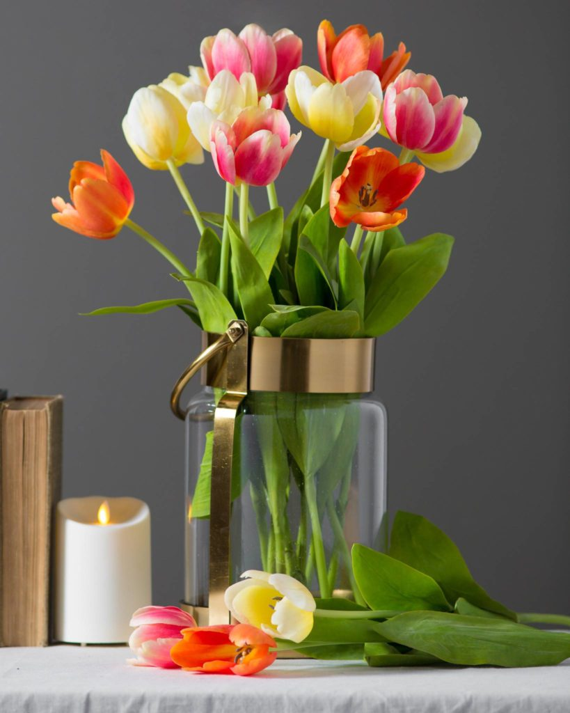 artificial tulip flower stems in various colors