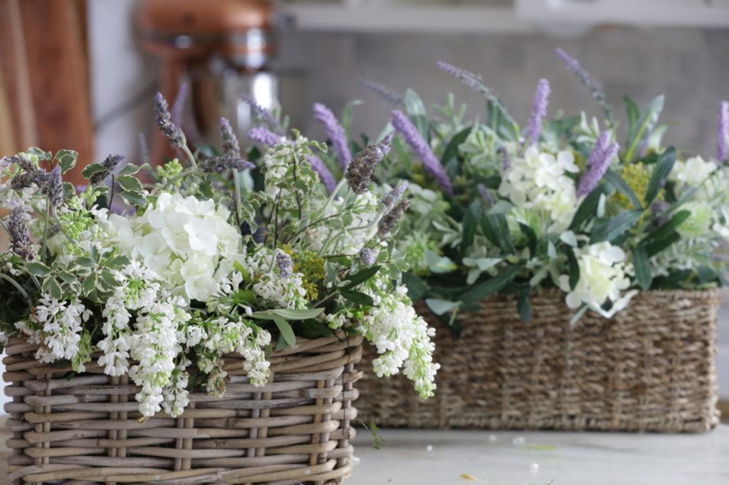 Flower arrangements in weave box baskets