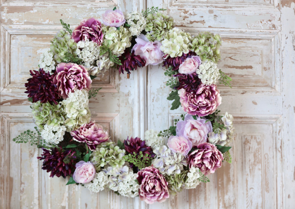 Balsam Hill artificial purple Peony Flower Wreath
