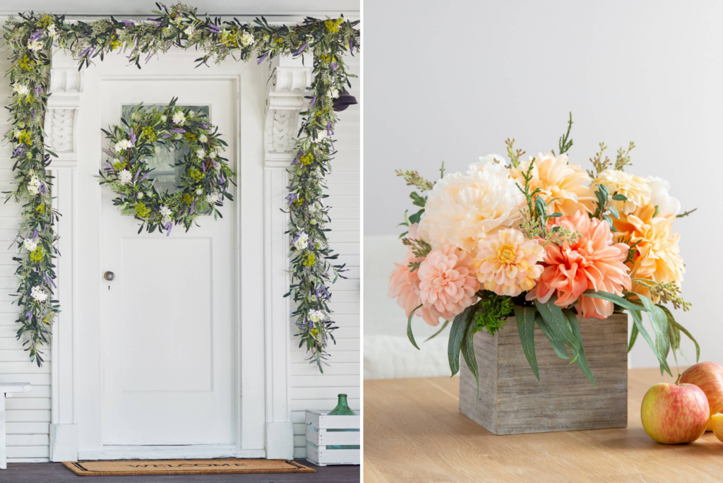 Collage of photos showing wreaths, garlands, and flower arrangement