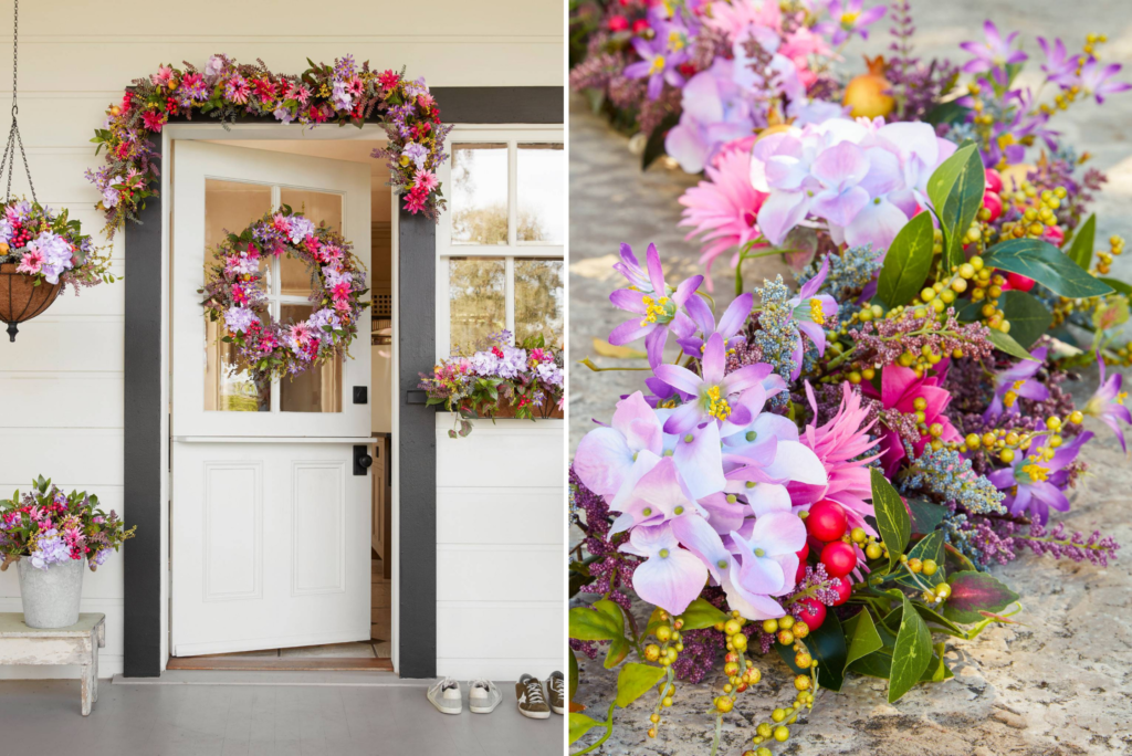 Collage of photos showing artificial floral wreath, garland, pottage foliage, window box, hanging basket
