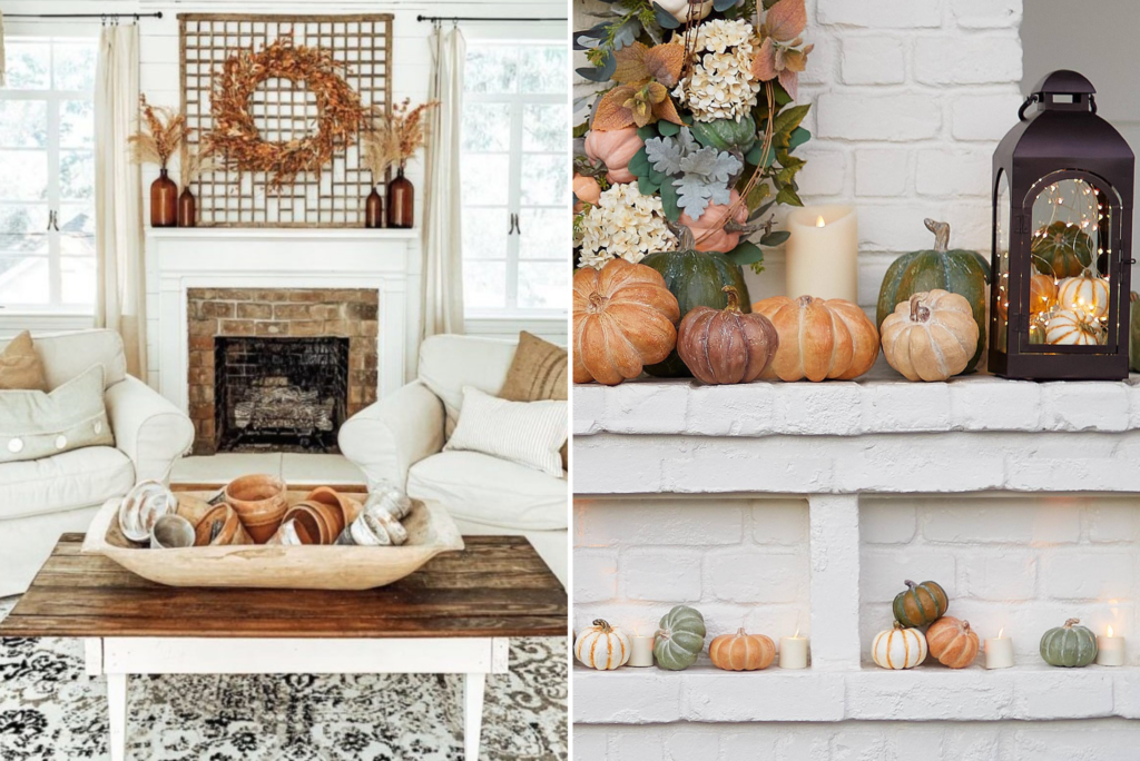 Collage of photos showing fall-themed decor
