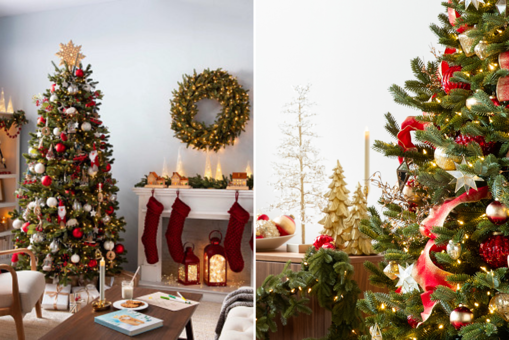 Collage of photos showing Christmas decorations