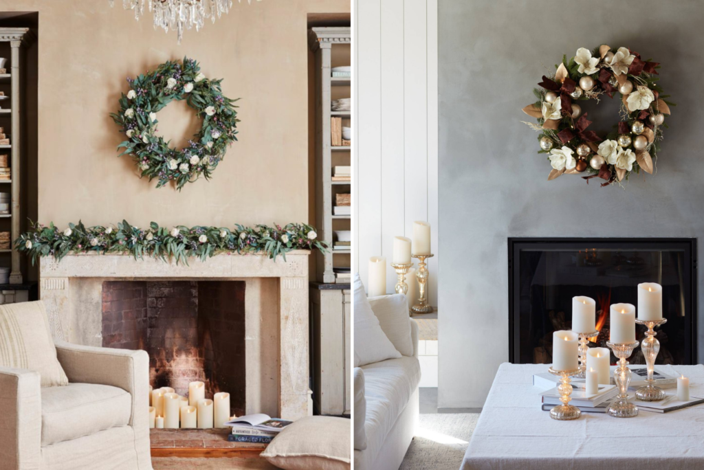 Collage of photos showing artificial foliage and room decorations in neutral shades