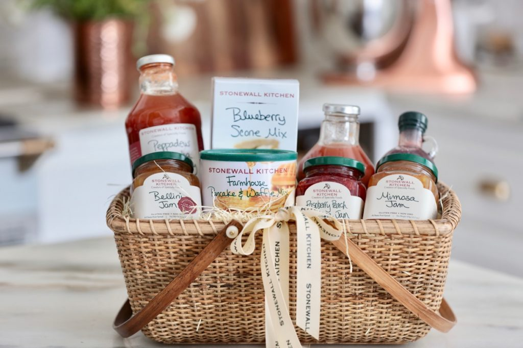 Stonewall Kitchen Brunch Gift Baskef featuring pancake and waffle mix, blueberry scone mix, fruit jams, raspberry syrup, and bloody mary mixers