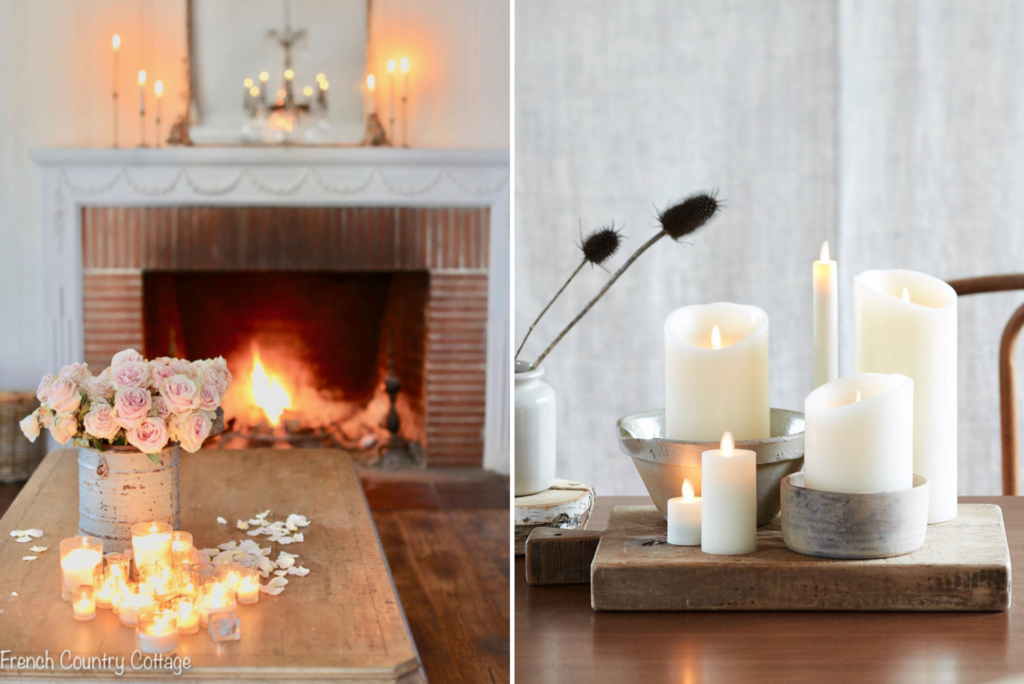 Collage of photos showing rooms decorated with candles