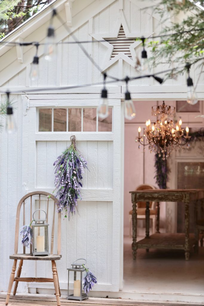 Barn decorated with artificial lavender foliage