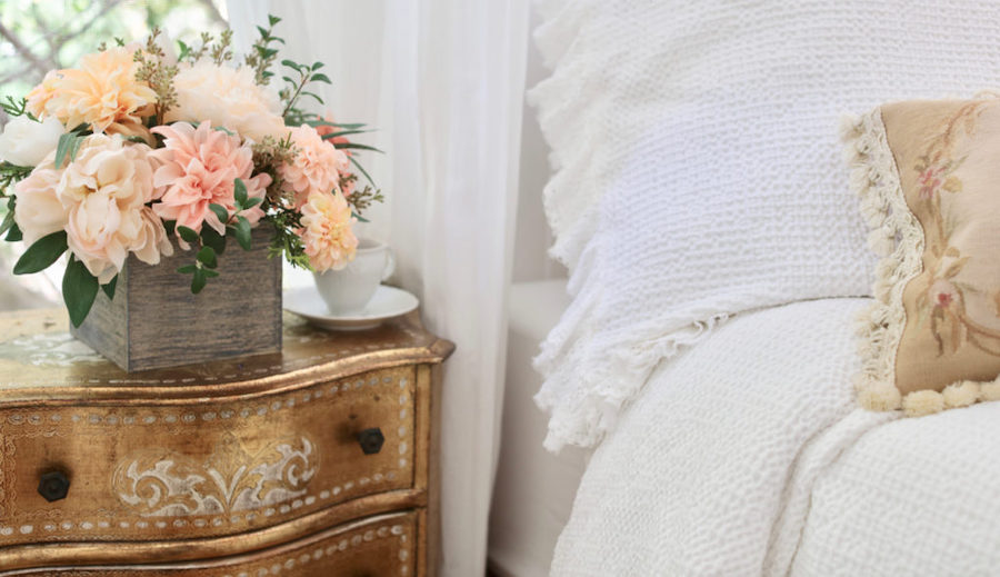 Faux florals as room décor to change the look