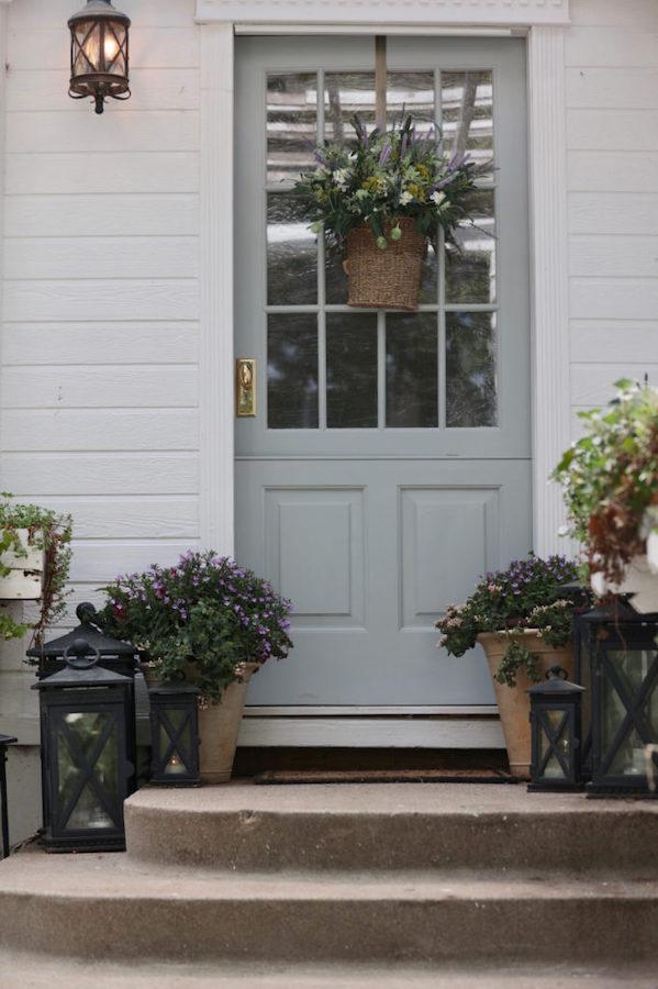 French market floral basket on door