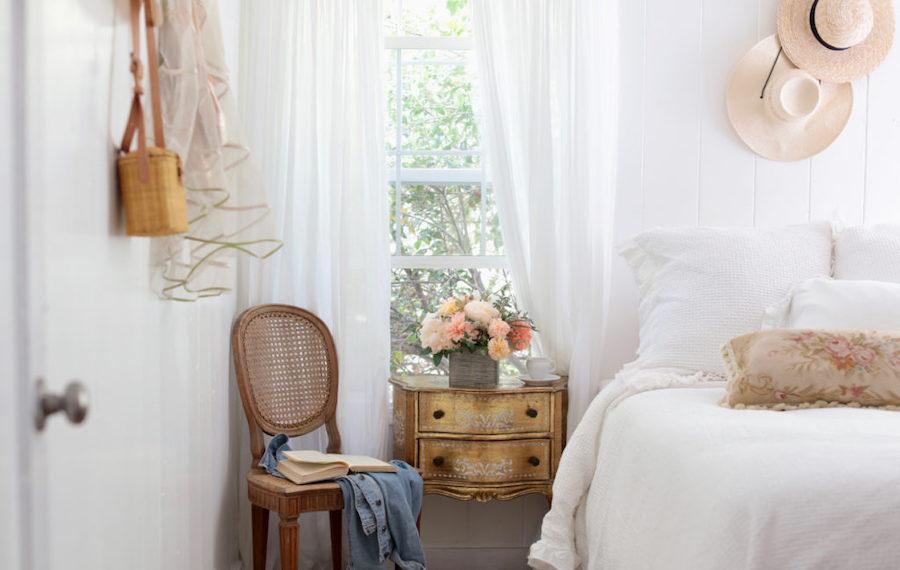 Flower arrangement on bedroom side table to transform the room décor