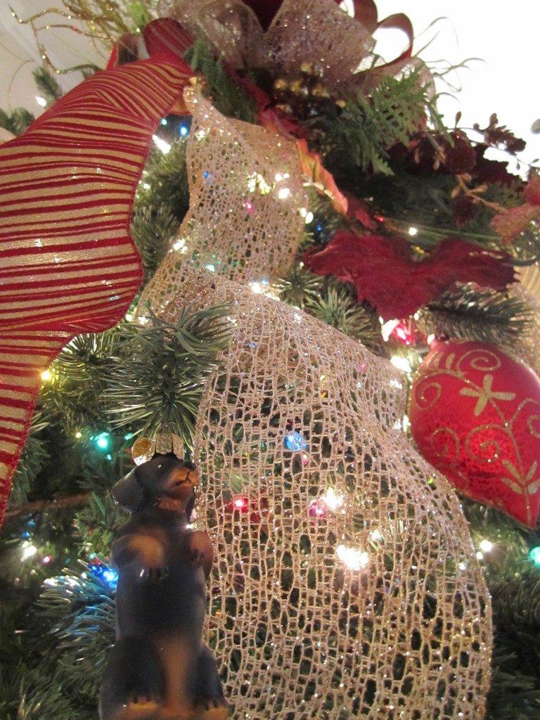 Close-up of Christmas tree ribbons