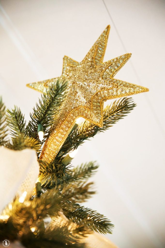 A gold star tree topper attached to a Christmas tree