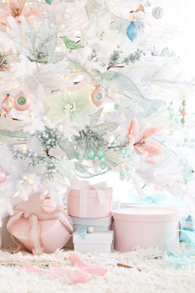 white christmas tree with pastel decor