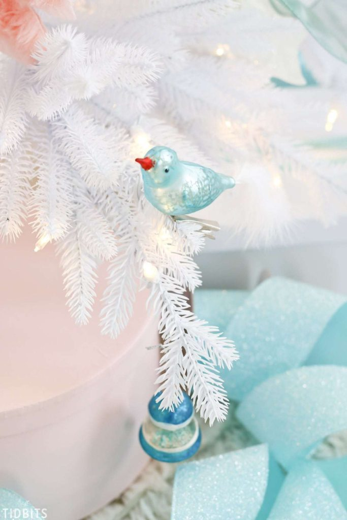 ornaments on white tree