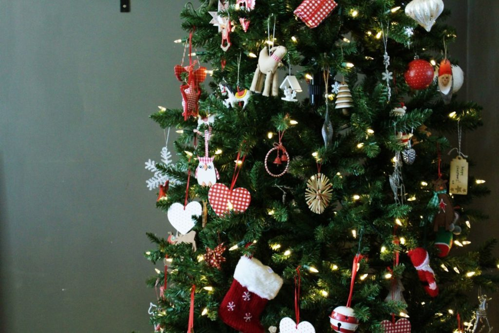 Red, white, and green Christmas tree decorations