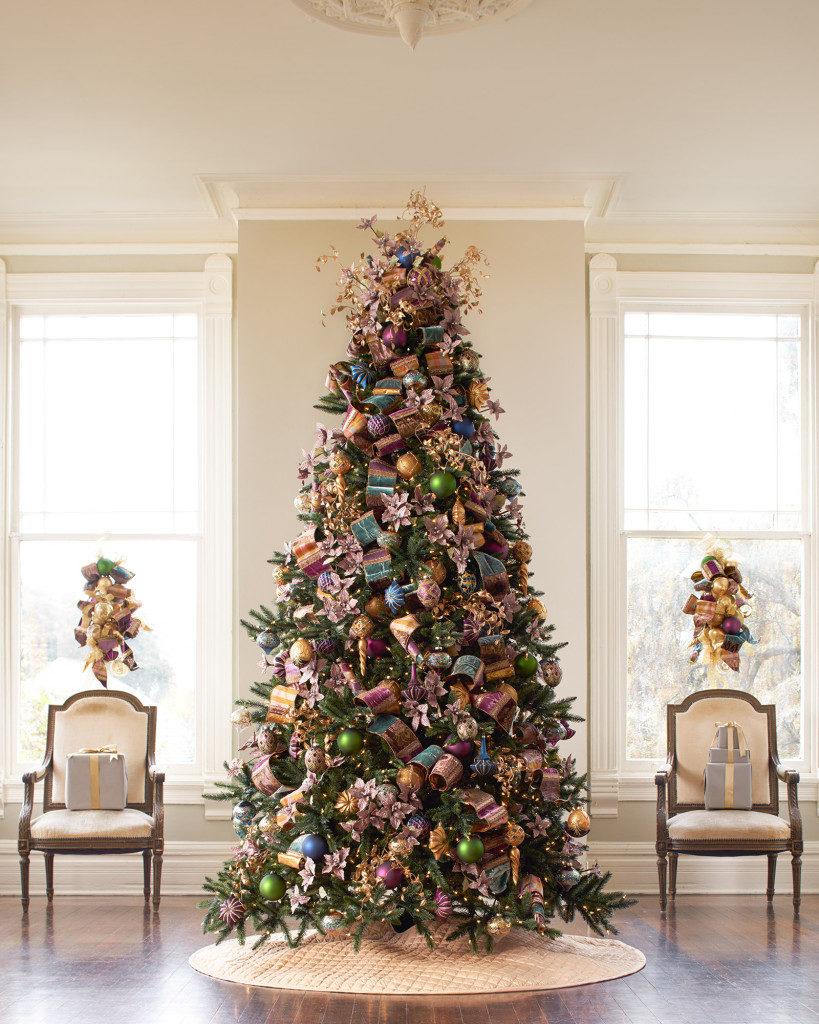 full shot of jewel-toned christmas tree