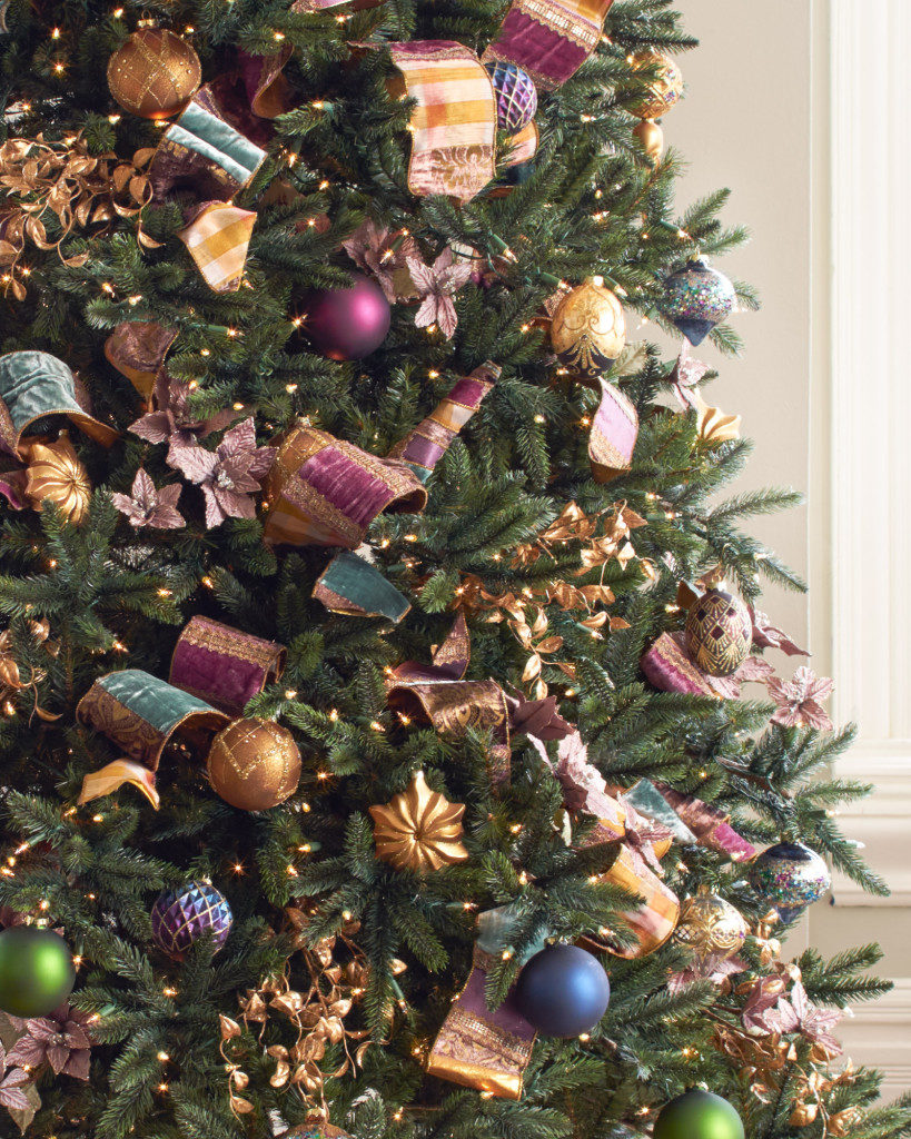jewel-tones ribbons, picks, and ornaments on tree