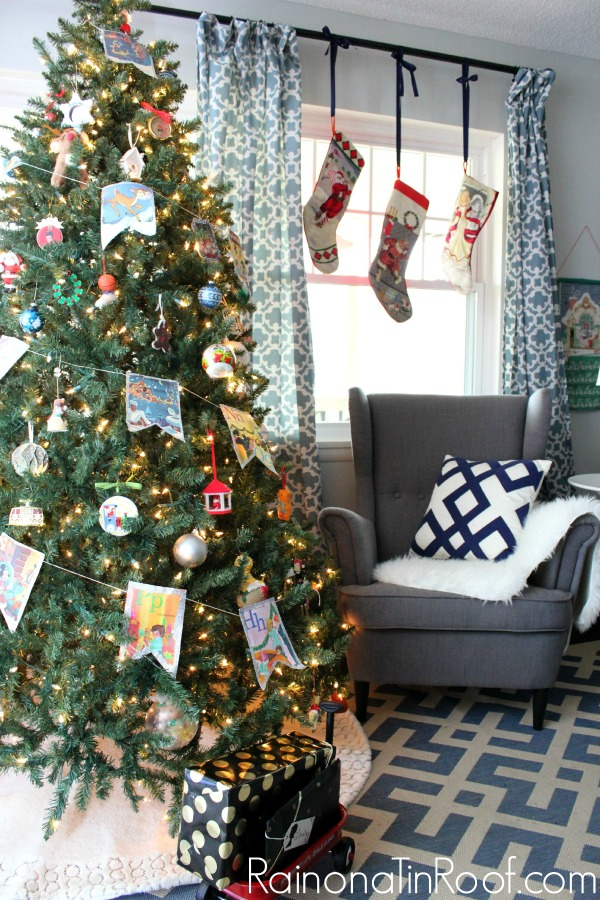 A Christmas tree decorated with assorted vintage ornaments.