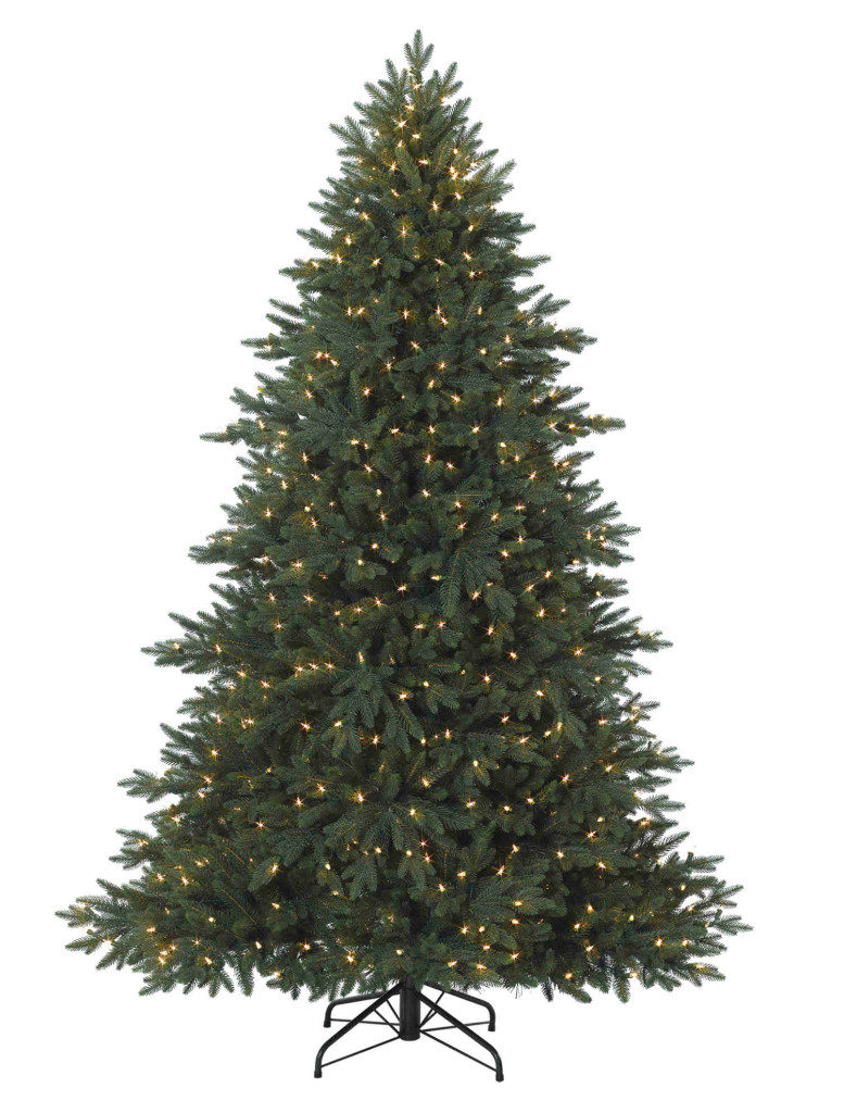 A Balsam Hill Colorado Mountain Spruce tree with lights