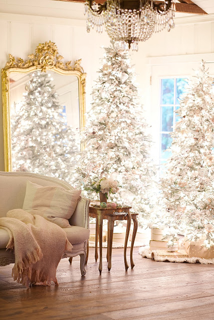 pre-lit frosted christmas tree with winter theme