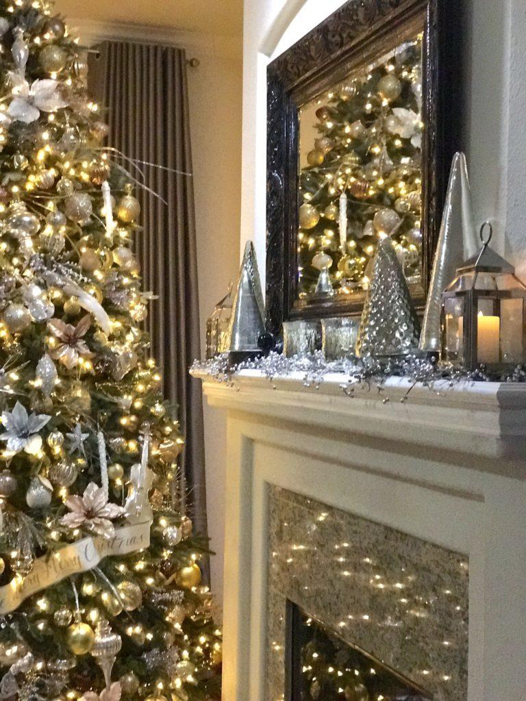 christmas tree beside mantel