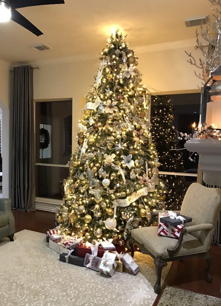full shot of elegant christmas tree