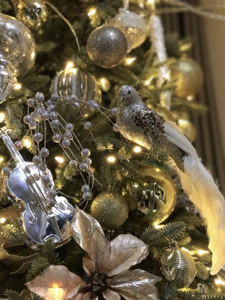 christmas tree decorations on tree