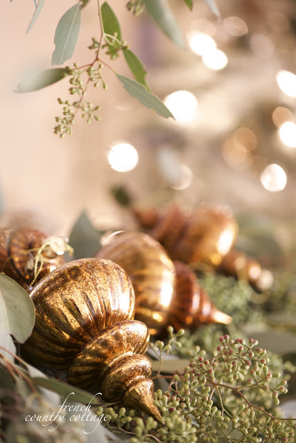 Closeup shot of gold Christmas ornaments