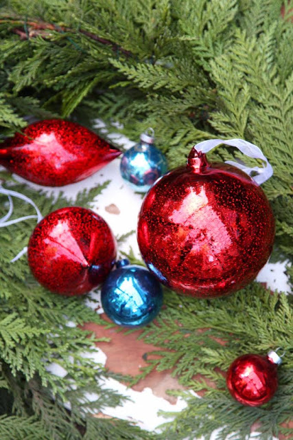 Closeup shot of red and blue metallic ornaments