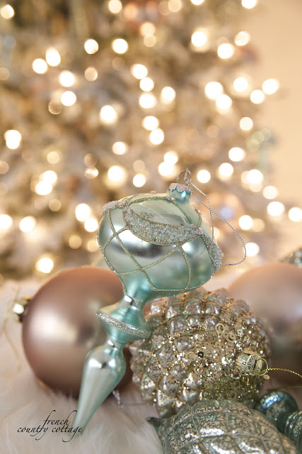 Close up of glass ornaments