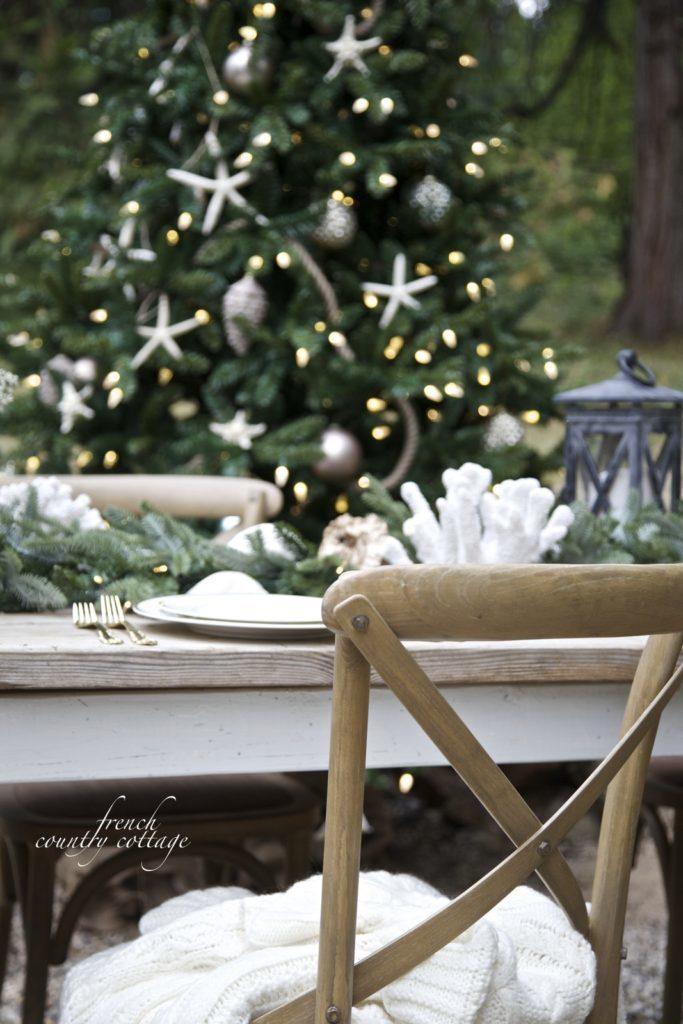 Christmas outdoor dinner table setting