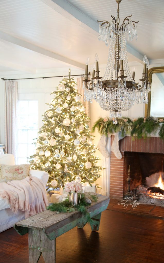 Pre-lit Balsam Hill Christmas tree with white and vintage ornaments