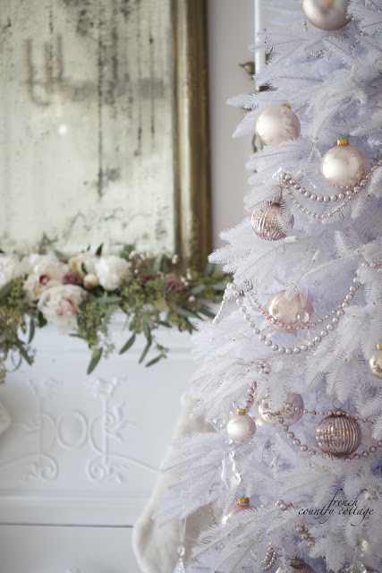 white christmas tree decorated by courtney of french country cottage