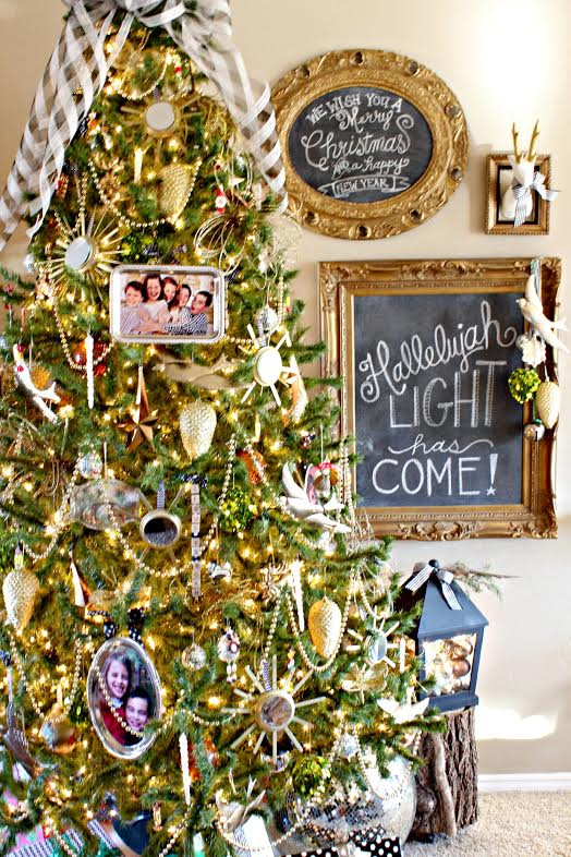 Photo frames used as ornaments on decorated tree